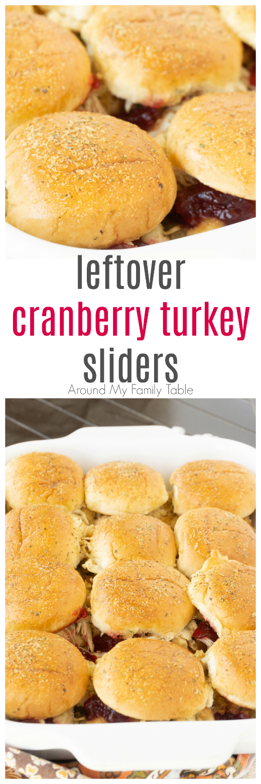 a pan of cranberry turkey sliders