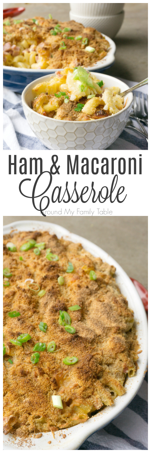 A twist on traditional macaroni and cheese, this Ham and Macaroni Casserole is an easy casserole and is a great use for leftover ham.