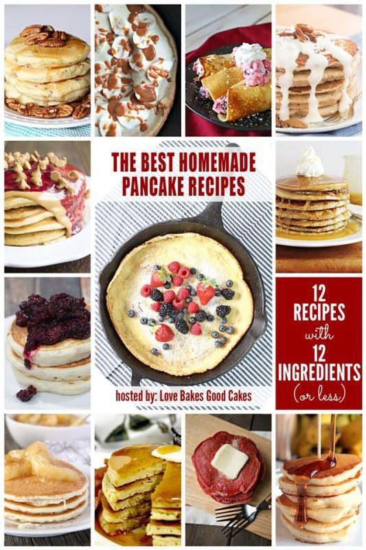 12 Delicious Pancake recipes including Apple Pie Pancakes.