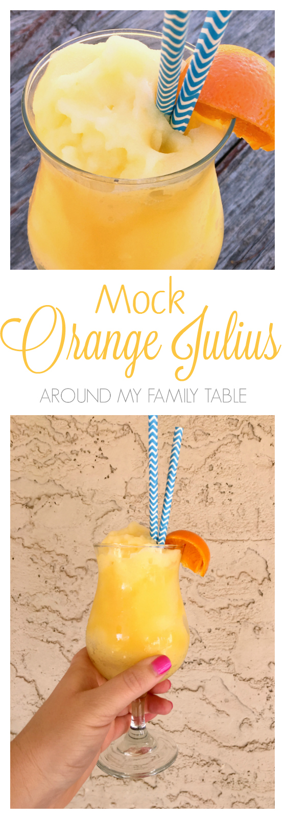 All the flavors of a traditional orange julius, but this MOCK ORANGE JULIUS is my lightened up version that tastes so similar to the real thing that you won't believe that it's good for ya.