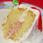Vanilla Bean Cake with Strawberry Cream Filling