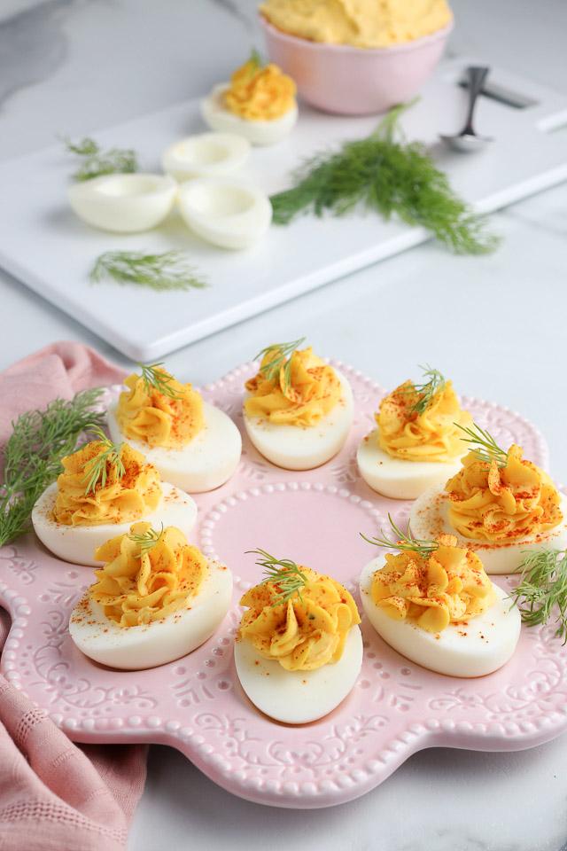 pretty platter of deviled eggs