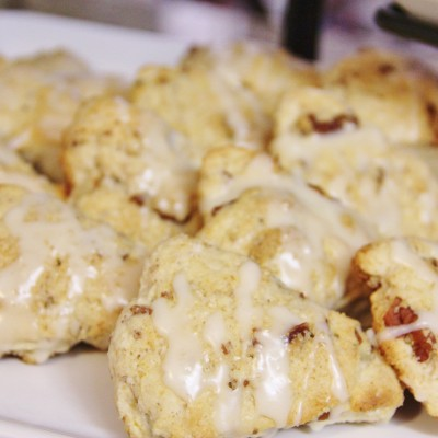 Maple Pecan Scones with Maple Glaze