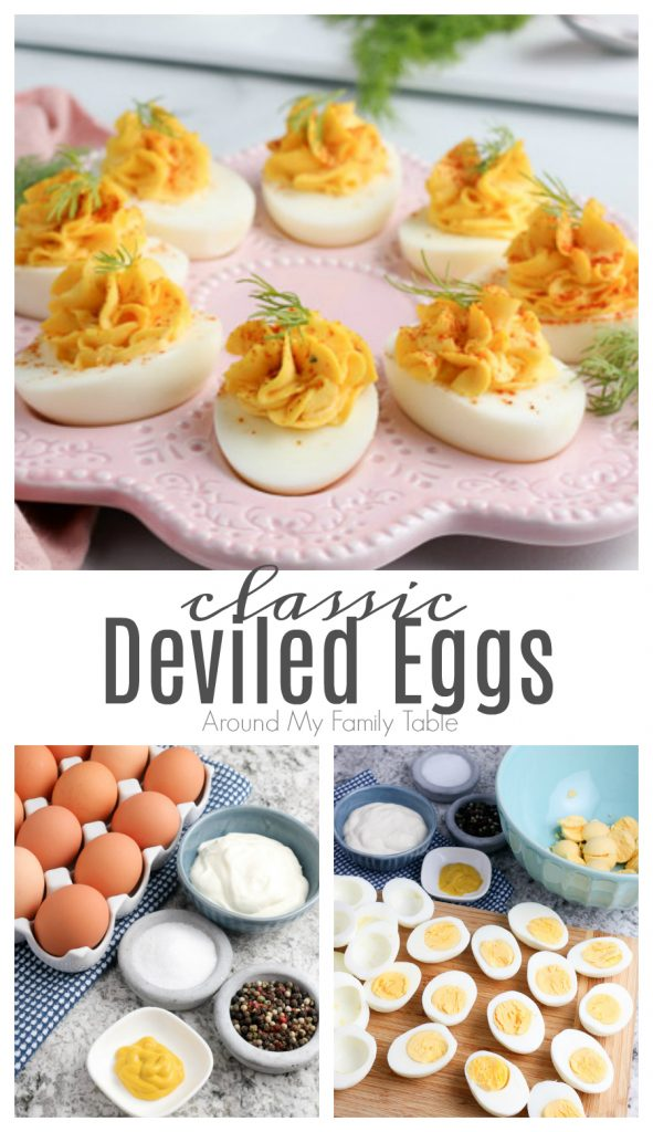 photo collage shows how to make the best deviled eggs recipe and finished eggs on a platter