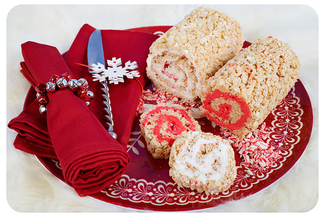 Peppermint Swirl Rice Krispies Roll Ups
