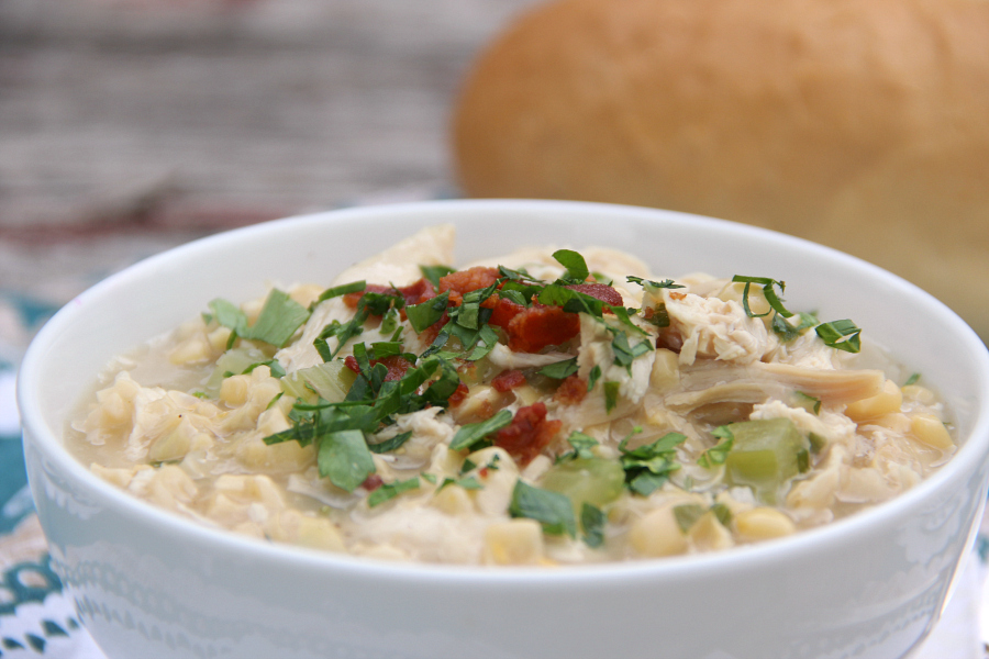 Throw together is quick Chicken and Corn Soup using leftover chicken for a simple, yet hearty weeknight supper.