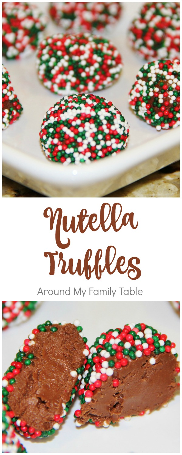 Nutella Truffles - creamy hazelnut ganache covered in festive sprinkles. The perfect homemade candy for Christmas!