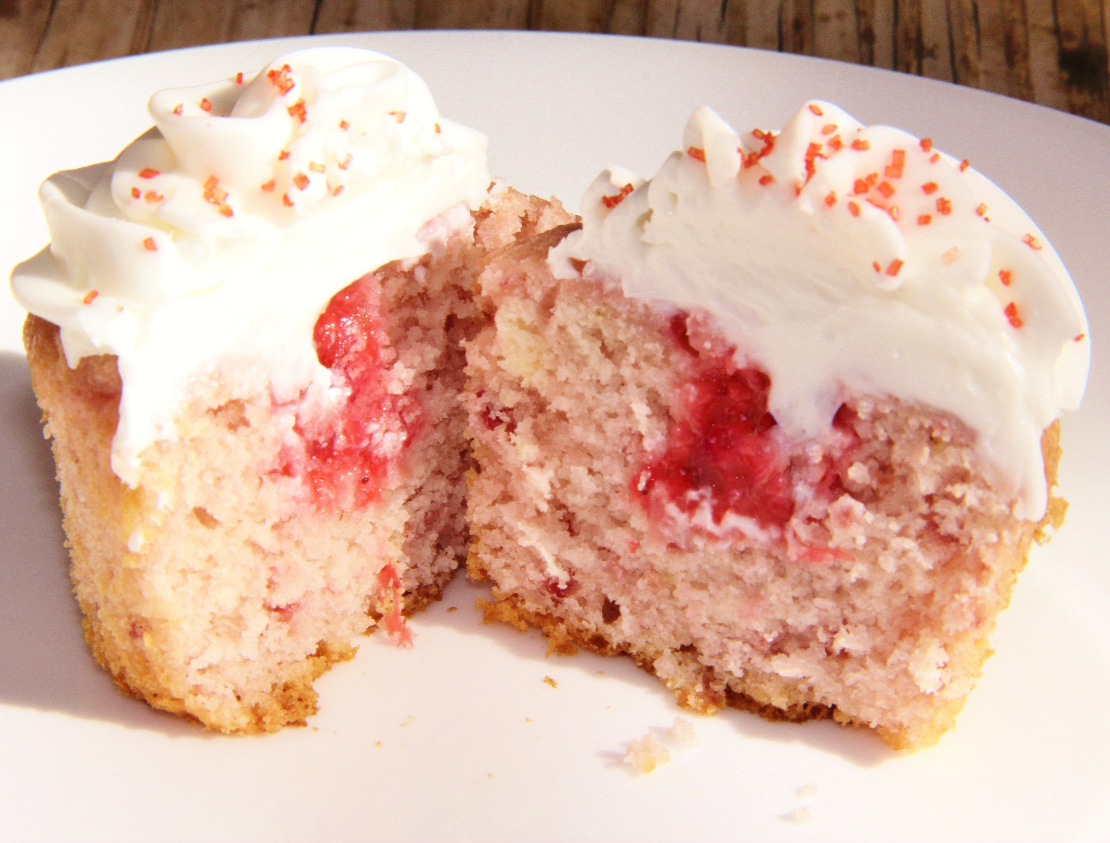 Strawberry Cupcakes with Almond Buttercream...no dyes or jello!