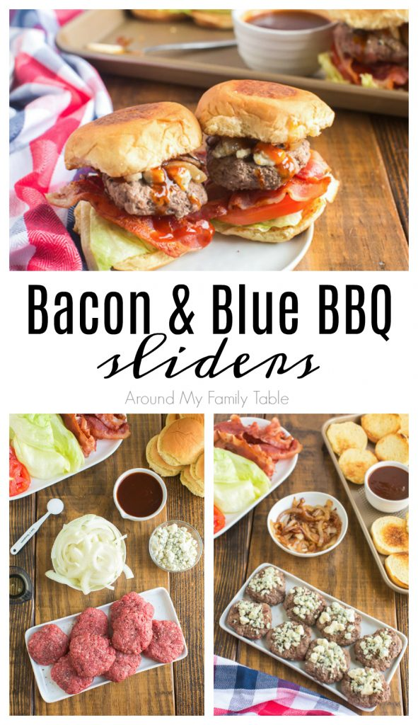 titled photo collage: Bacon and Blue Sliders - Around My Family Table
