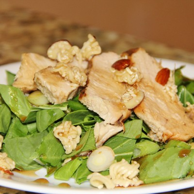 Bok Choy and Chicken Salad with a Sweet Almond Topping