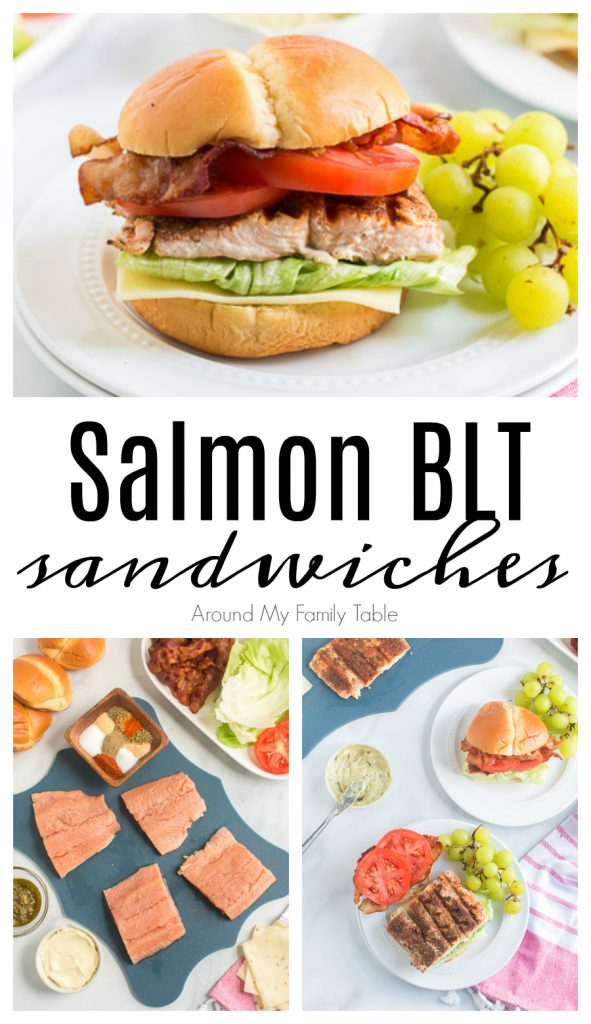 grilled blackened salmon BLT sandwich and green grapes on white plate and ingredients collage
