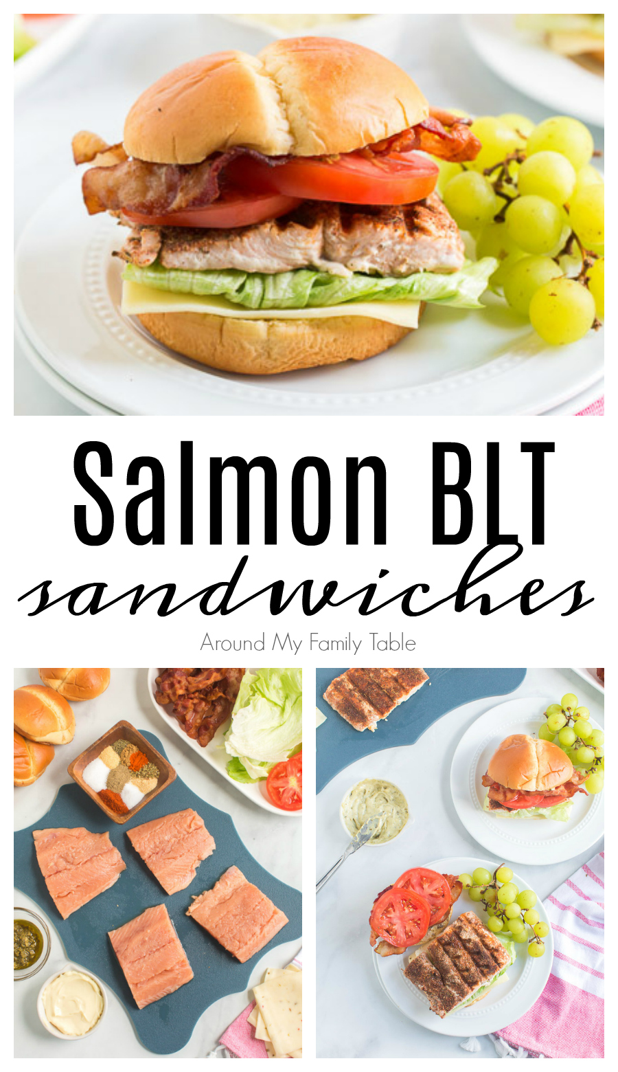 Grilled blackened salmon is delicious on its own but take it up a notch! Make this BLT sandwich recipe for a flavorful healthy lunch or dinner! via @slingmama