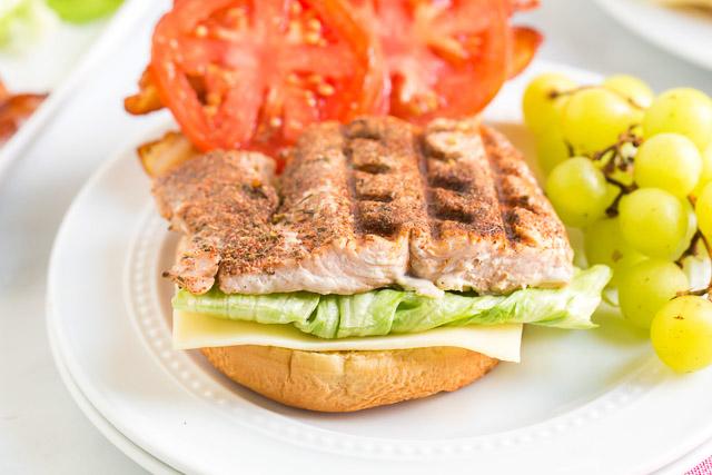 open face grilled blackened salmon sandwich