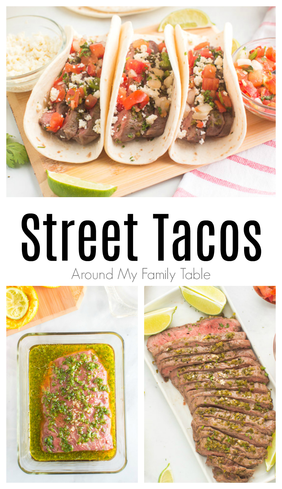 Steak Street Tacos are portable and filled with juicy seasoned beef, tomatoes, and cheese. Make this steak taco recipe for dinner tonight! via @slingmama