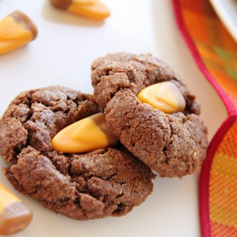 Chocolate Caramel Candy Corn Cookies