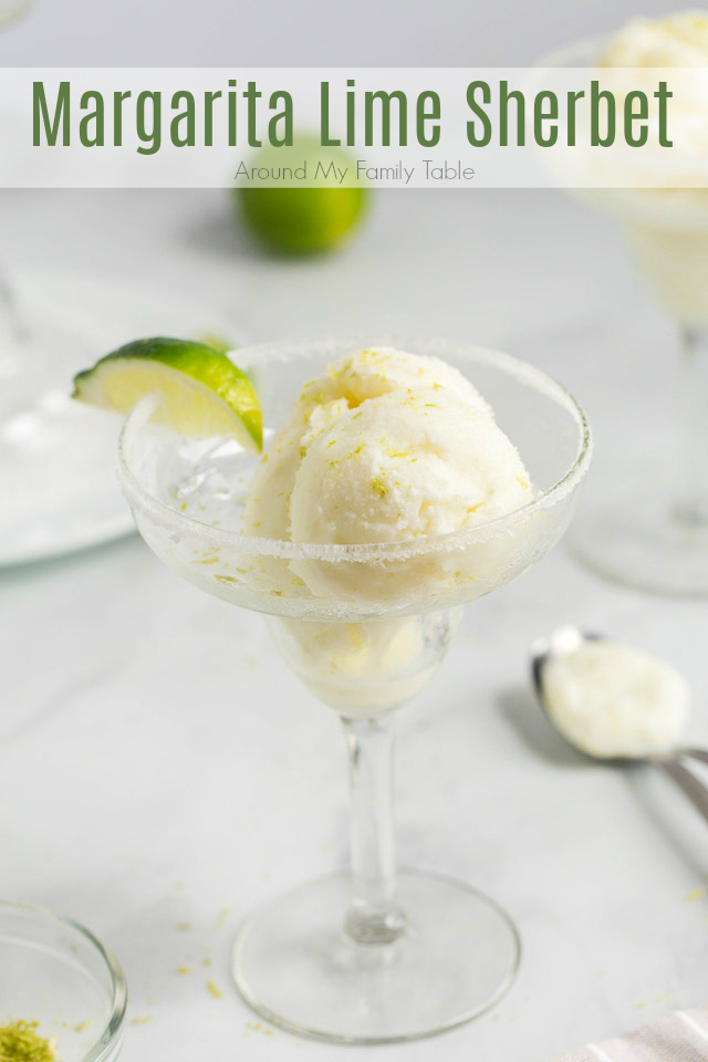 scoops of Margarita Lime Sherbet in a margarita glass with a wedge of lime