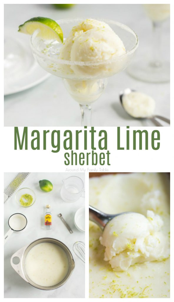 collage of Margarita Lime Sherbet in a margarita glass with a wedge of lime and a picture of ingredients and a picture of a scoop of sherbet
