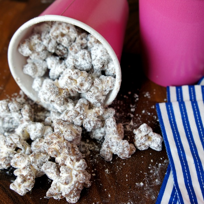 Who doesn't love Muddy Buddies?! It's the combination of creamy peanut butter and melty chocolate drizzled all over Chex cereal, then coated with a nice helping of powdered sugar. This Muddy Buddy Popcorn might even be better than the original.