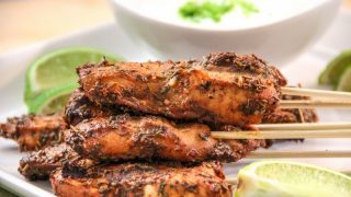 Fire Cracker Chicken Skewers with a Cooling Lime Cream Sauce