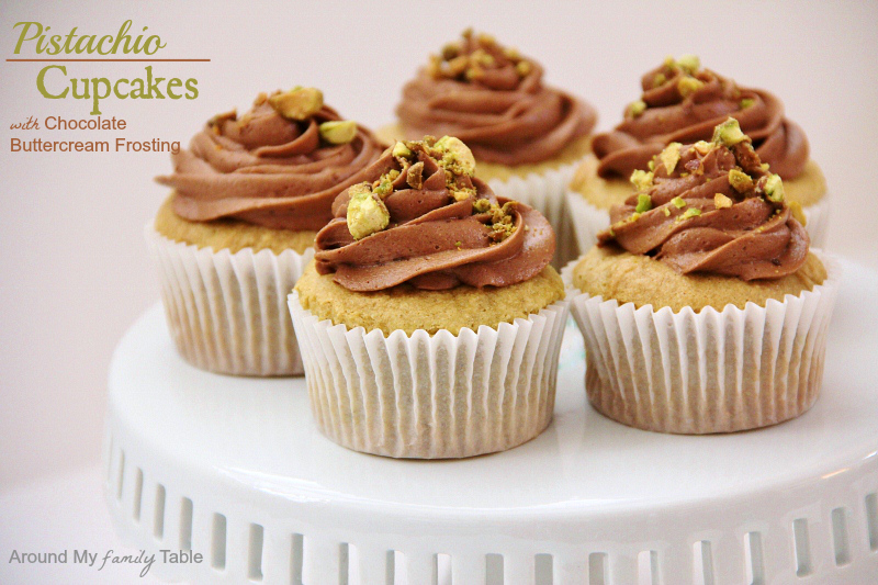 Pistachio Cupcakes with Chocolate Frosting (they are gluten free and can be made dairy free/egg free too with no problems)