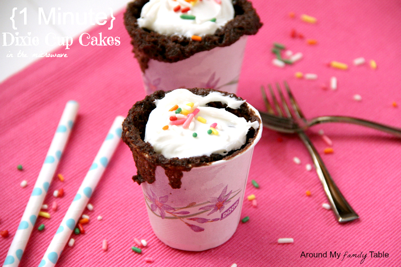 Only one minute to hot glorious cake! Use your favorite cake mix and a paper Dixie cup for these 1 Minute Dixie Cup Cakes for an after school snack or late night treat for yourself!