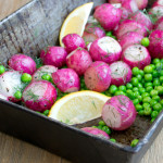 Oven Roasted Radishes with Peas and Dill