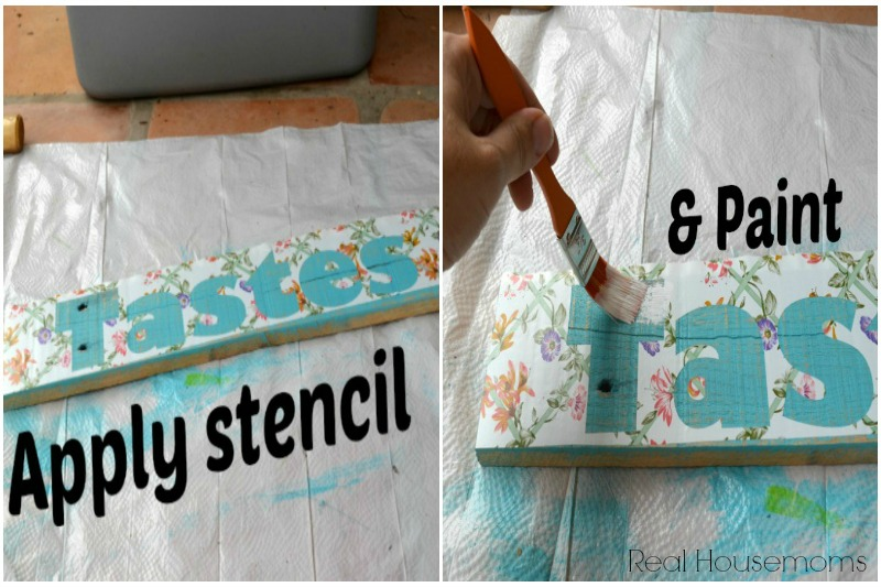 Apply Stencil and paint collage_ Real Housemoms