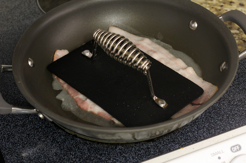 DIY Gourmet Bacon...use a grill press to keep bacon from curling