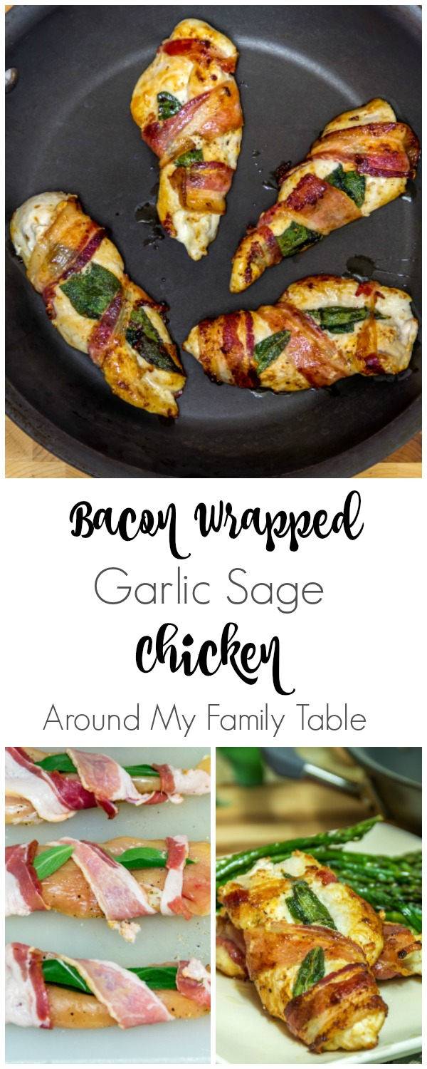 Quick and easy supper for busy nights, this Bacon Wrapped Garlic Sage Chicken recipe takes only 15 minutes and is full of flavor.