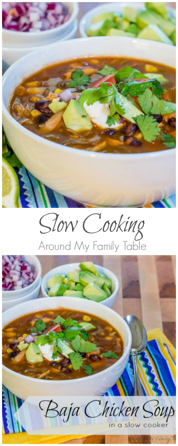 Baja Chicken Soup comes together in a snap and simmers all day in a slow cooker for an easy weeknight supper!