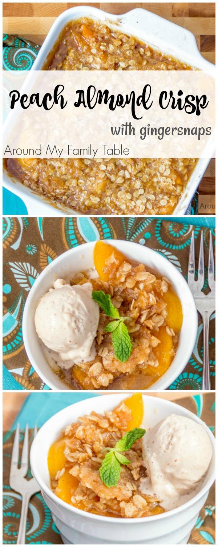 Peach Almond Crisp - Gluten-free dessert with fresh peaches | Around My Family Table