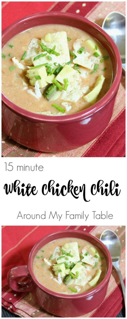 15 Minute White Chicken Chili - The creamiest and best white chili, made in 15 minutes!