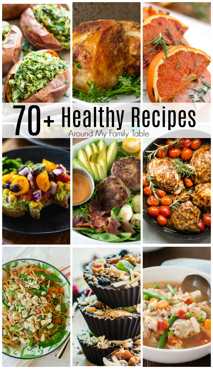 collage of easy healthy recipes