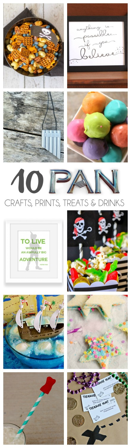 10 PAN movie inspired Crafts, Prints, Treats & Drinks