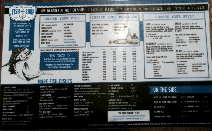 Pacific Beach Fish Shop menu in San Diego, CA