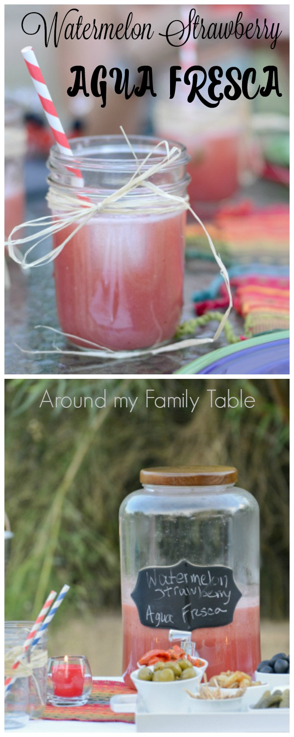 Watermelon strawberry agua fresca is a light and refreshing fruit drink, great on a hot day. It's also the perfect party drink, and one that all of your guests will love.
