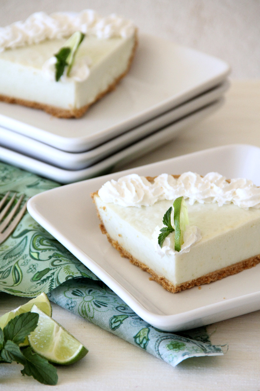 Cool and Creamy Lime Mint Frozen Dessert...just like those yummy jello cool whip pies, but a little healthier!