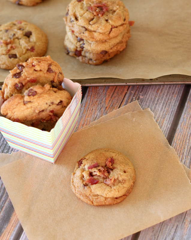 Next time you make a big batch of chocolate chip cookies...add some crispy bacon to the mix.  These Bacon & Chocolate Chip Cookies will blow your mind.