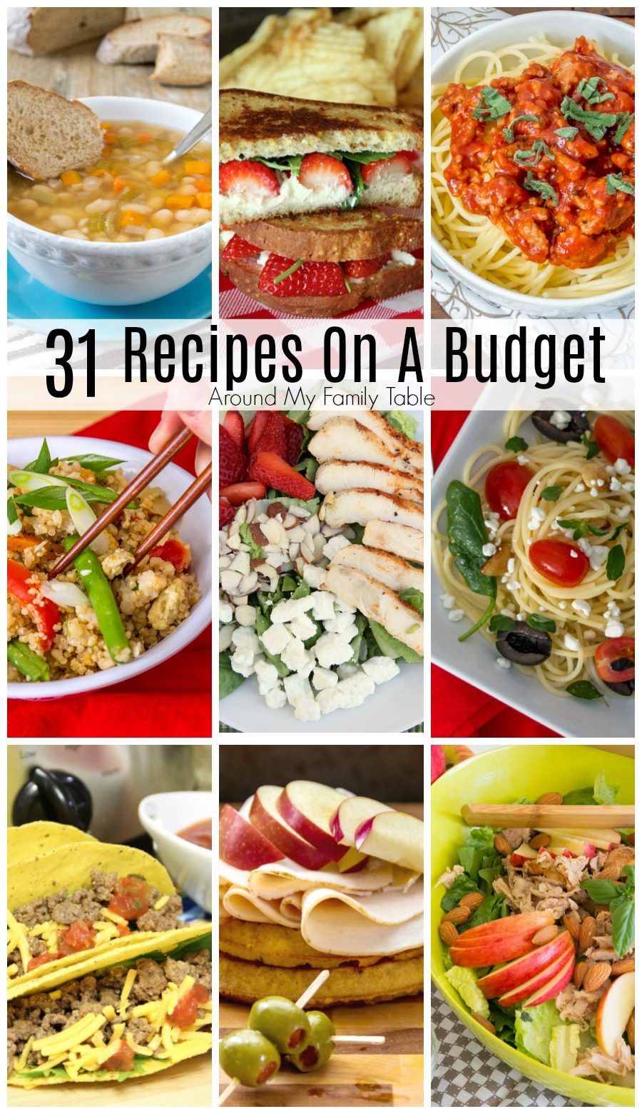 Eat healthy on a tight budget with these 31 Recipes on a Budget.  A month's worth of budget friendly recipes that you'll feel good about feeding your loved ones that won't break the bank.