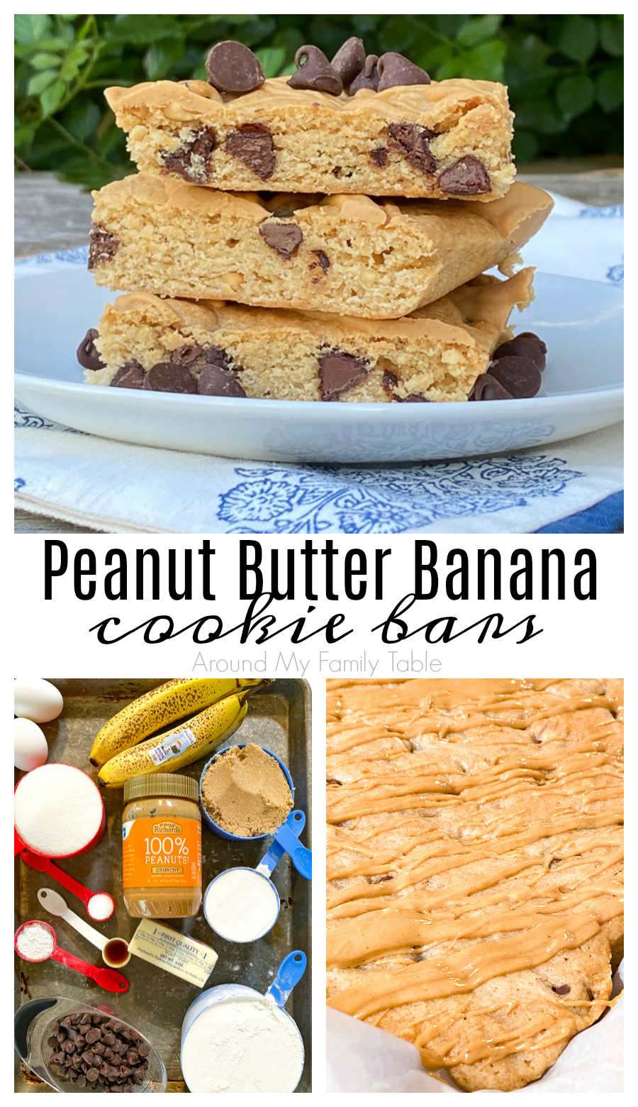 Peanut Butter Banana Cookie Bars are the perfect blend of peanut butter, banana, and chocolate chips in a moist, cake-like cookie bar made with pantry staples.  It's the perfect after school snack or dessert. via @slingmama