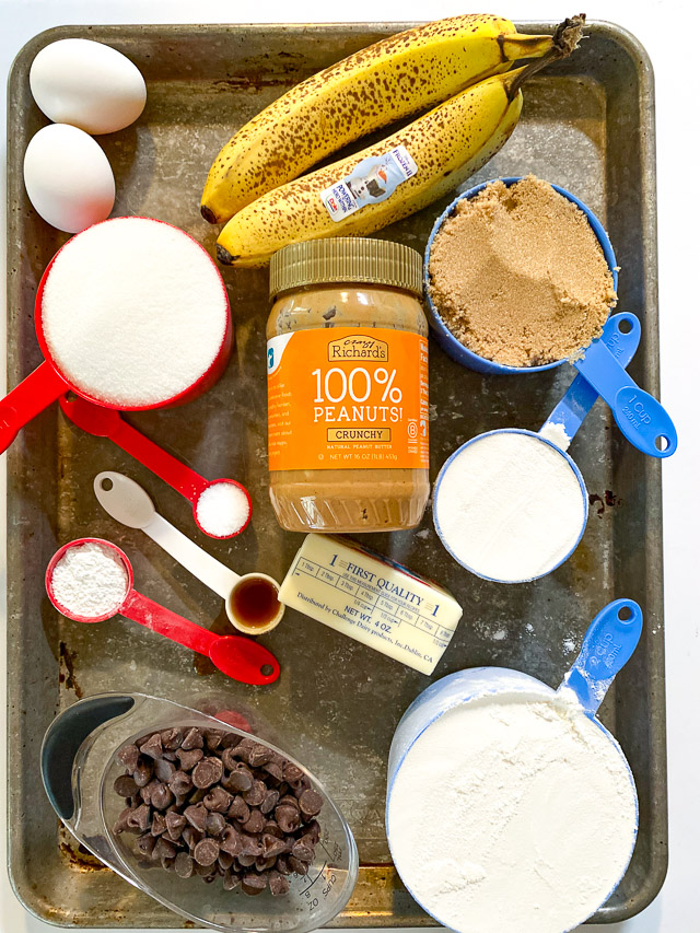 Peanut Butter Banana Cookie Bars ingredients