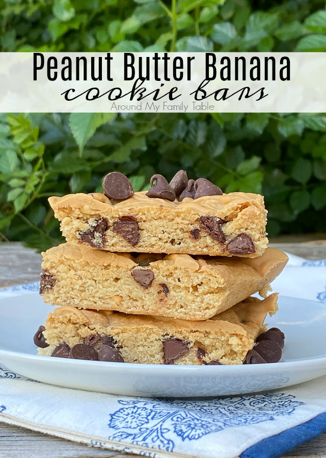 Peanut Butter Banana Cookie Bars on white plate