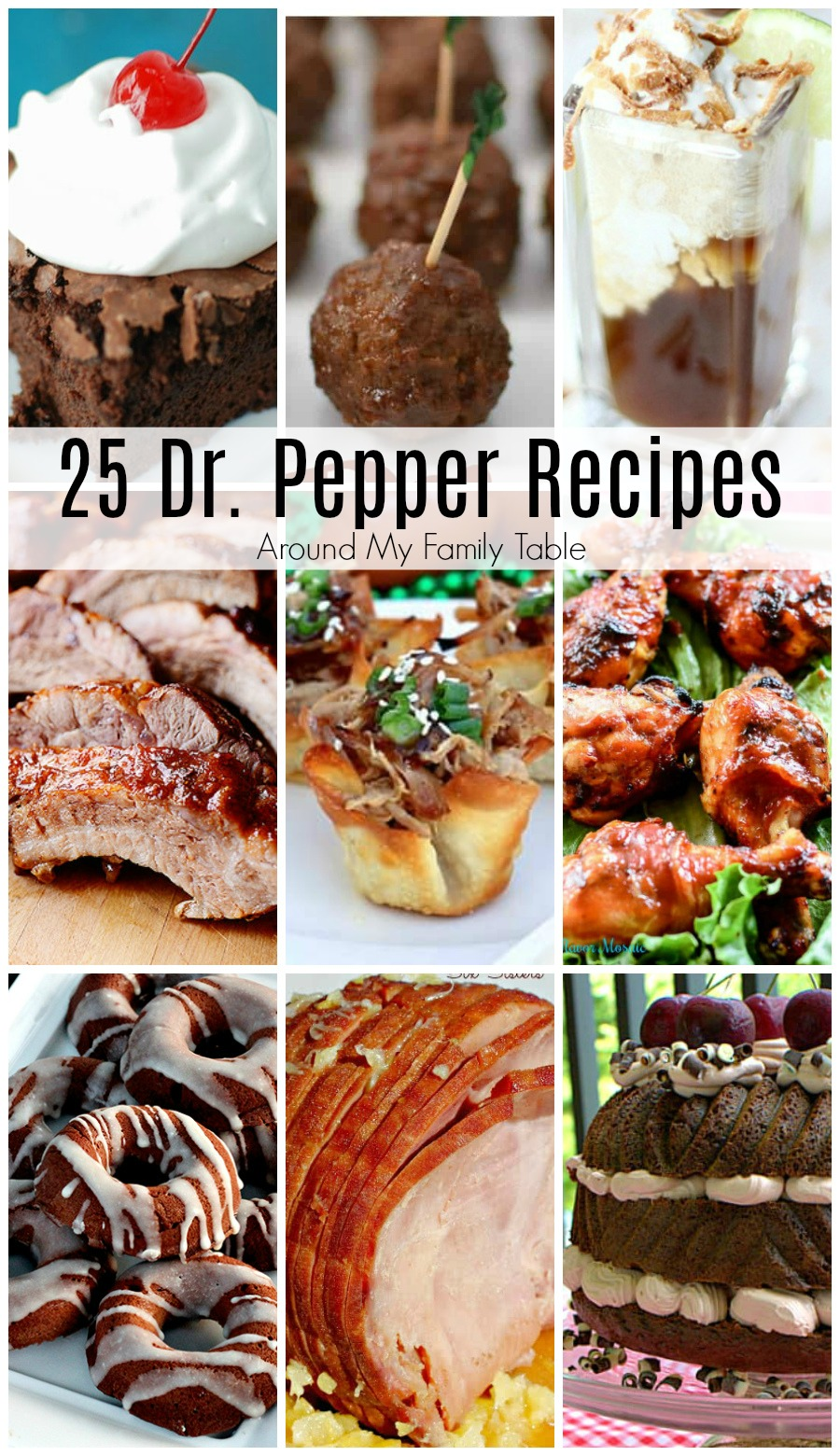 collage of dr pepper recipes