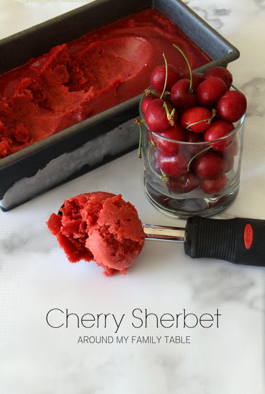 This delicious Cherry Sherbet is made with juice from fresh cherries...it's dairy free and vegan, but you wouldn't know it.  It's the perfect summertime dessert! #cherries #cherrydessert #vegandessert