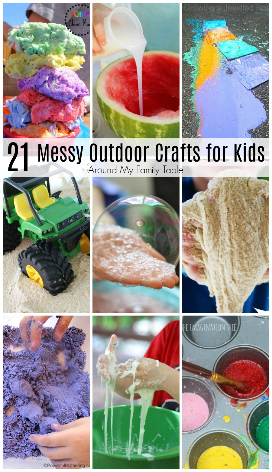 Keep your kids busy and boredom in check with these 21 Messy Outdoor Crafts for Kids. Kids will love these messy outdoor ideas and you'll love that the mess stays outside.
