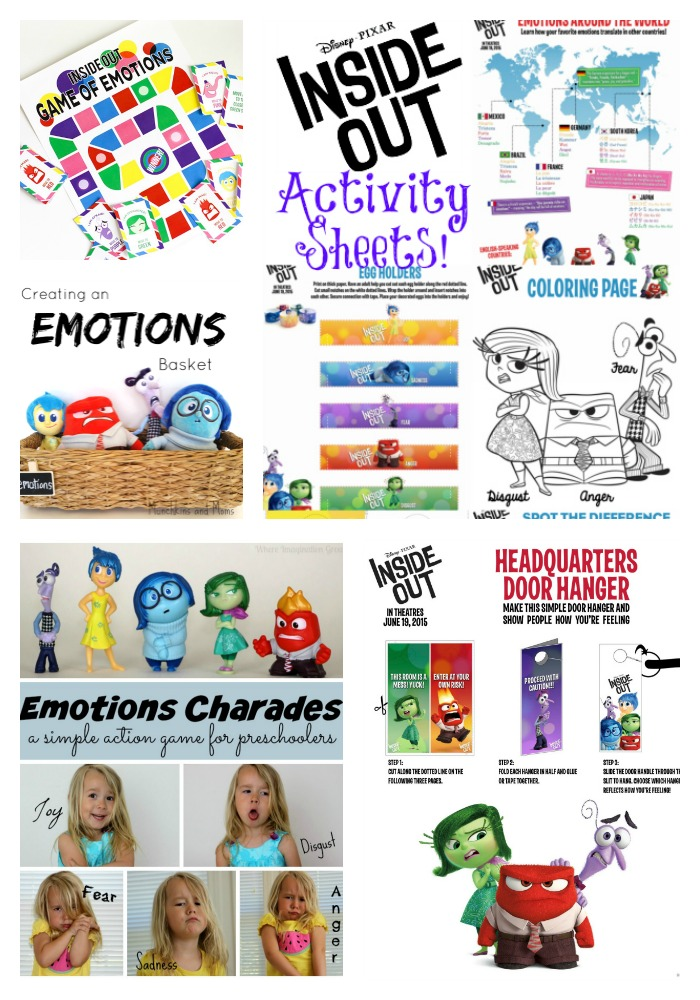 Activities and Games that are inspired by Disney's Inside Out Movie.