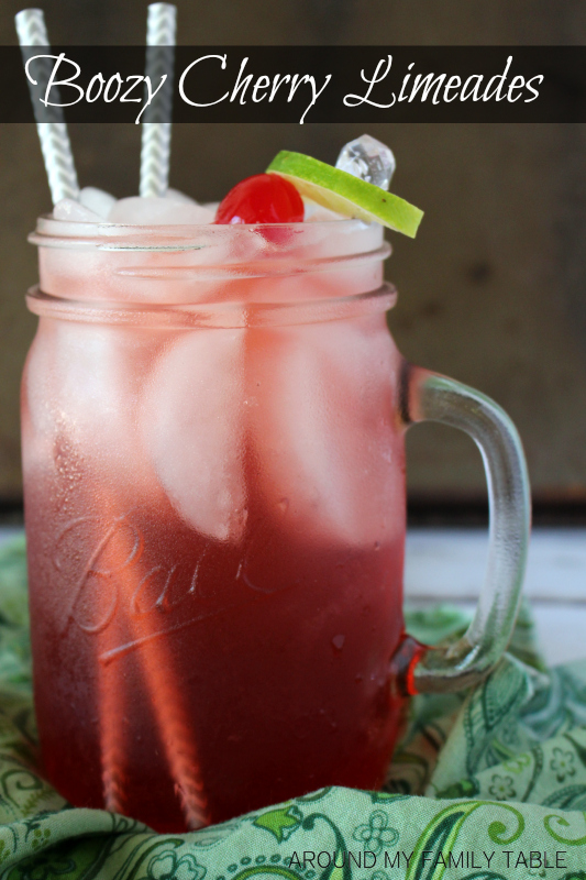 Turn your favorite summertime drink into something for grown ups only!  Love this  Boozy Cherry Limeade Recipe.
