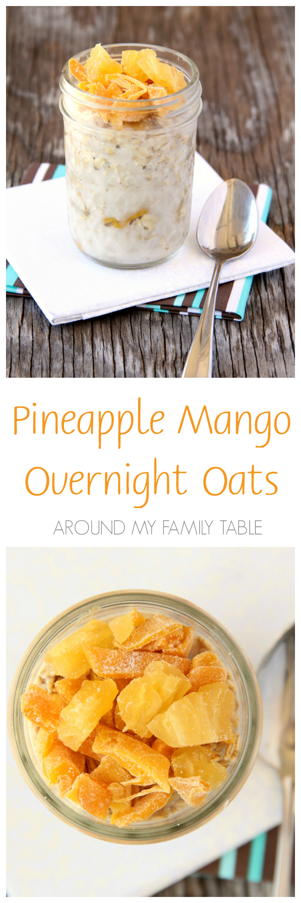 Make up a couple jars of Pineapple Mango Overnight Oats tonight for a quick and delicious breakfast tomorrow that's ready when you are.
