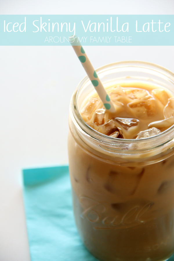 This Iced Skinny Vanilla Latte is a classic coffeehouse drink, but it's super easy to make at home for a fraction of the coffeehouse prices.