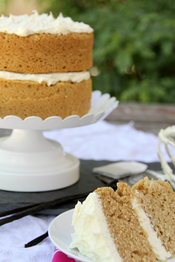 Whip up this Earl Grey Cake with Vanilla Bean Frosting for a stunning and delicious dessert perfect for a tea party or weeknight dessert.